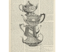 Vintage Dictionary Print - Stacked Teapots