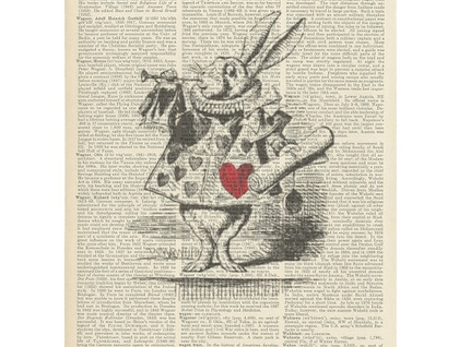 Vintage Dictionary Print - Alice In Wonderland Rabbit