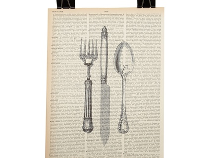 Vintage Dictionary Print - Knife, Fork, Spoon Cutlery Set