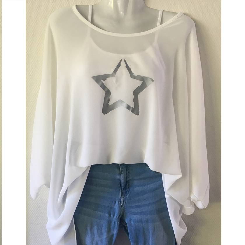 White OSFM chiffon top with custom print