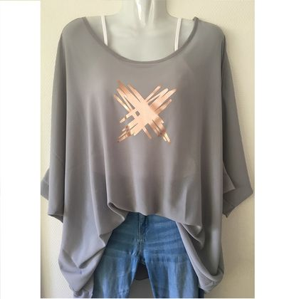 Grey OSFM chiffon top with custom print