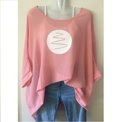 Pink OSFM chiffon top with custom print