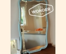 """Blue Alice"" vintage, curvy, solid wood mirror, revamped by The Wonder Co."