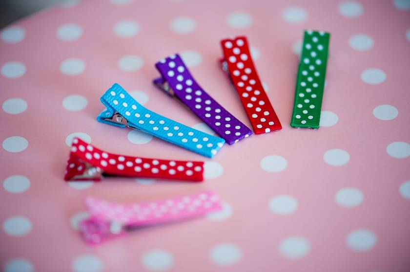 Polkadot Hairclips x2