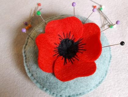 Felt Poppy Pincushion designed by Cherry Parker