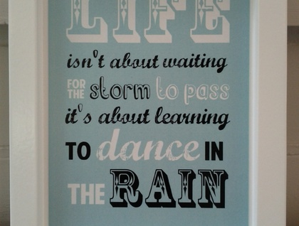 Medium Size Dance In The Rain Quote Wall Art Felt