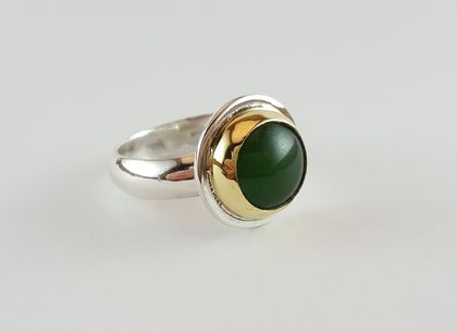 Chinese Jade mixed metal ring (polished band)