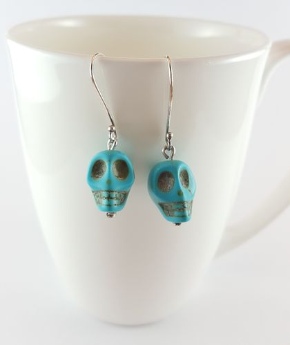 Sterling silver and turquoise skull earrings
