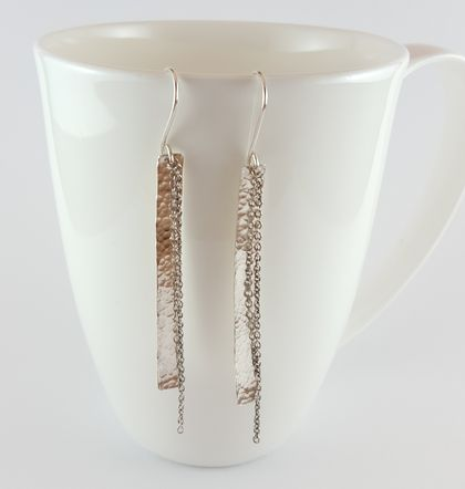 Sterling Silver long bar and chain earrings