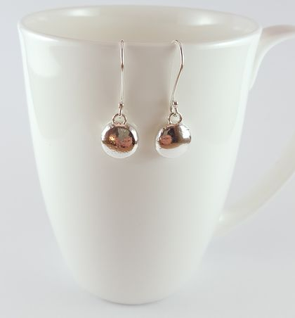 Sterling Silver Organic Pebble Earrings