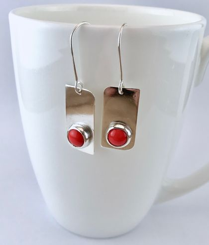 Modern silver and red earrings
