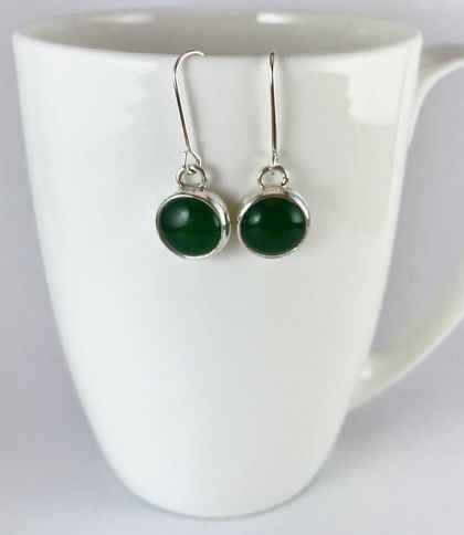 Chinese Jade and sterling silver earrings