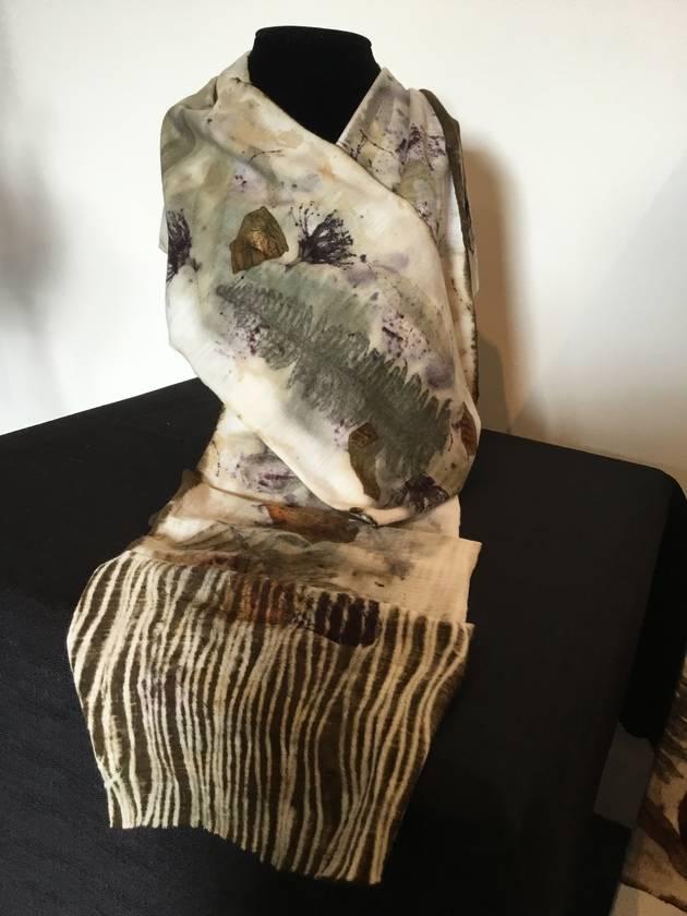 Natural eco leaf print NZ merino scarf