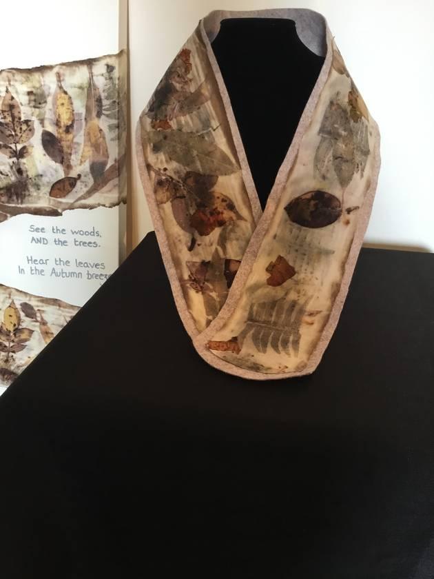 Wool blend felt and merino eco-print scarf