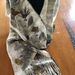 Natural eco leaf print NZ merino scarf