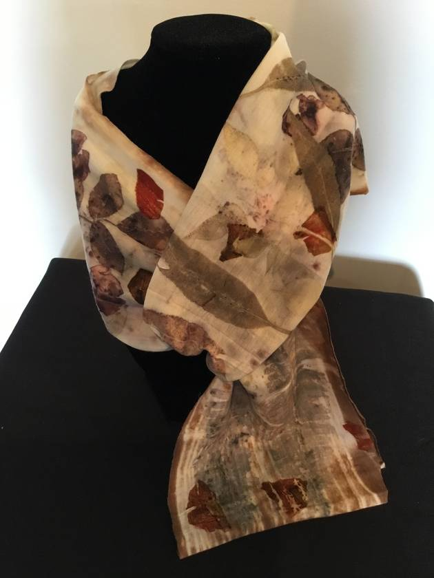 Merino scarf, natural eco print