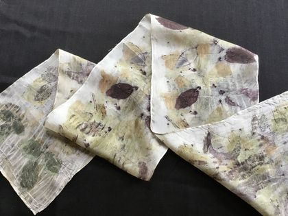 100% silk natural eco print scarf