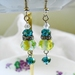 Rhinestone, Czech Glass, Crystal Earrings, Dangle, Blue, Yellow, Clear Crystal