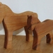 Set of 2 wooden horses and a foal