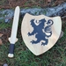 Handmade Wooden Sword and Shield with Lion Motif