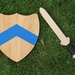 Handmade Wooden Sword and Shield  -  Blue Chevron Motif