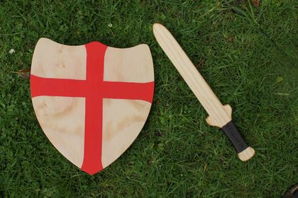 Handmade Wooden Sword and Shield with Red Cross