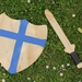 Handmade Wooden Sword and Shield with Blue Cross