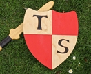 Personalised Handmade Wooden Sword and Shield with RED Checks