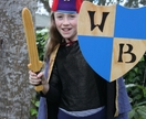 Personalised Handmade Wooden Sword and Shield with BLUE Checks
