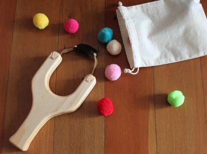 Wood Toy Slingshot with Pom poms