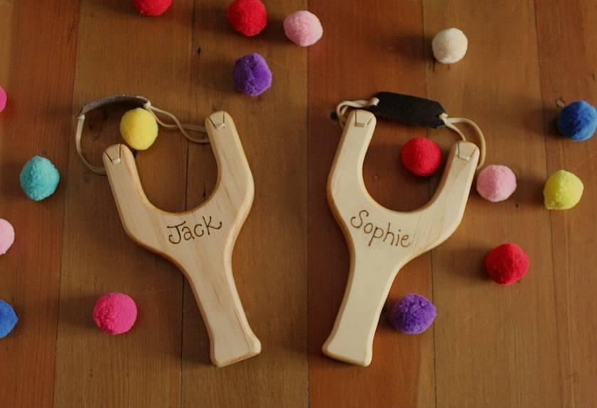PERSONALISED - Wood Toy Slingshot with Pom poms