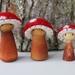 Set of 3 mushroom Gnomes