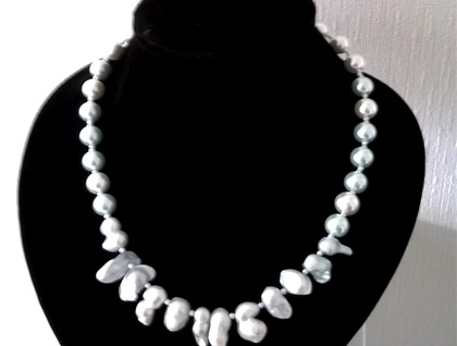 Aqua blue  necklace with blister pearls