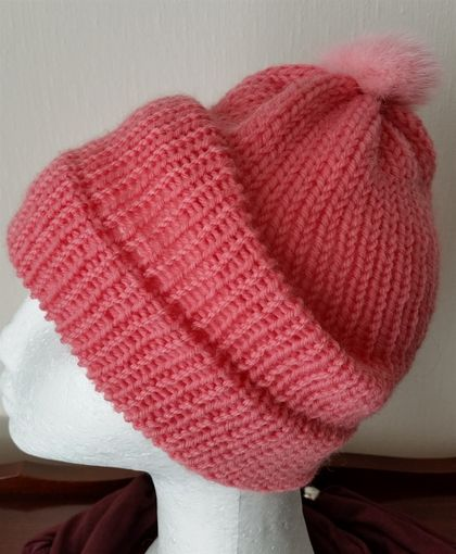 Lovely Hats in pink - hand  knitted, hand crafted