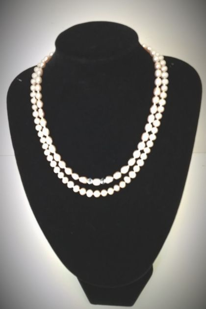 Gorgeous  Water Pearls & Crystals Necklace + matching wp earrings - SALE