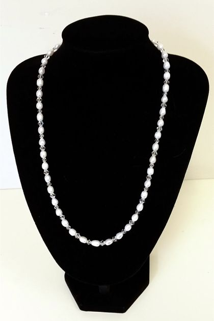 Nice Water Pearls & Crystals Necklace + matching wp earrings