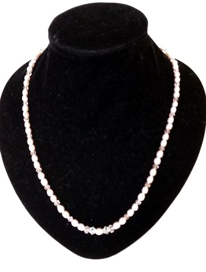 Beautiful Water Pearls &  Crystals Necklace + matching  earrings of water pearls - SALE