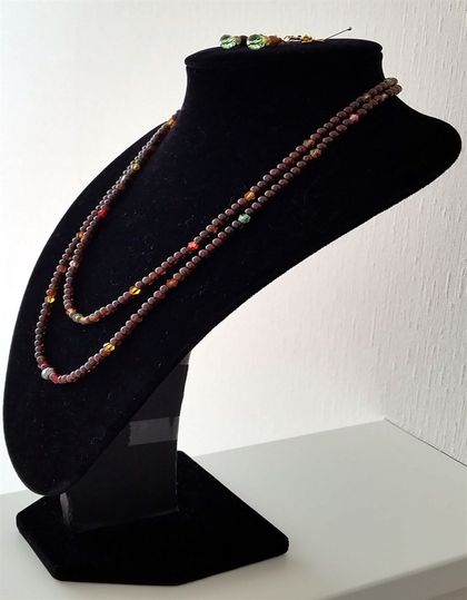 2 Strands Resin Pearls & Crystals Necklace