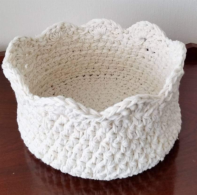 Crocheted Basket - ivory white