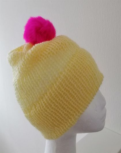 Bright Yellow Hat with angora pompom