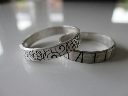 Stamped sterling silver rings