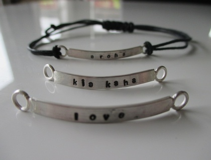Stamped sterling silver adjustable bracelet