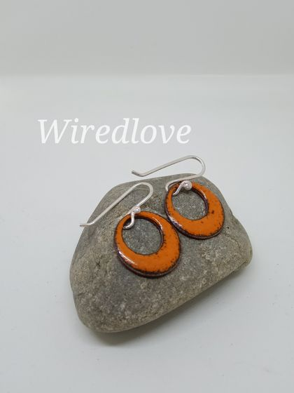Enamel disc earrings