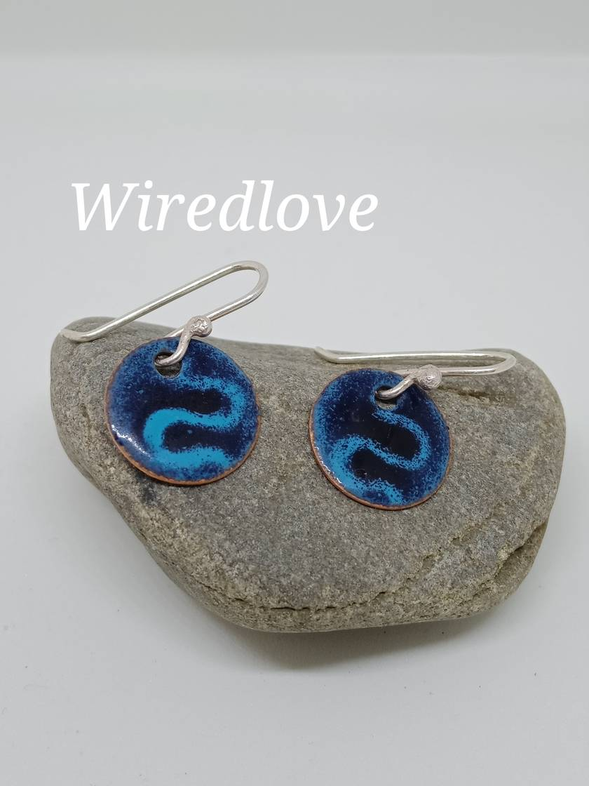 Enamel swirl disc earrings