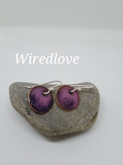 Enamel ombre disc earrings