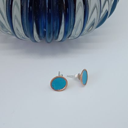Coloured Copper Studs with Navy / Red / Purple / Blue