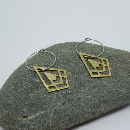 Brass deco hoop earrings