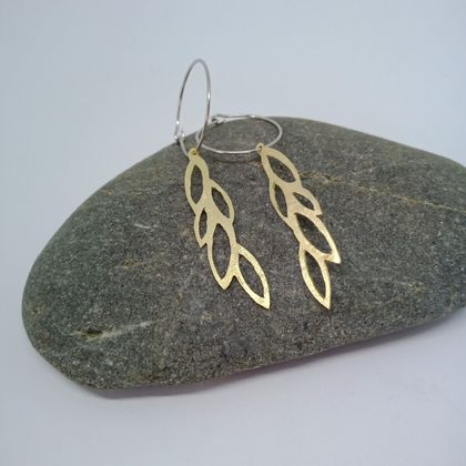Brass leaf hoop earrings