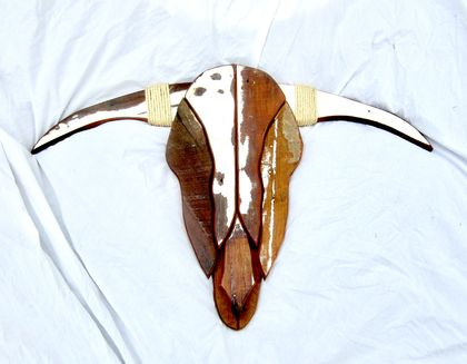 """SPANISH FIGHTING BULL SKULL"" SCULPTURE"