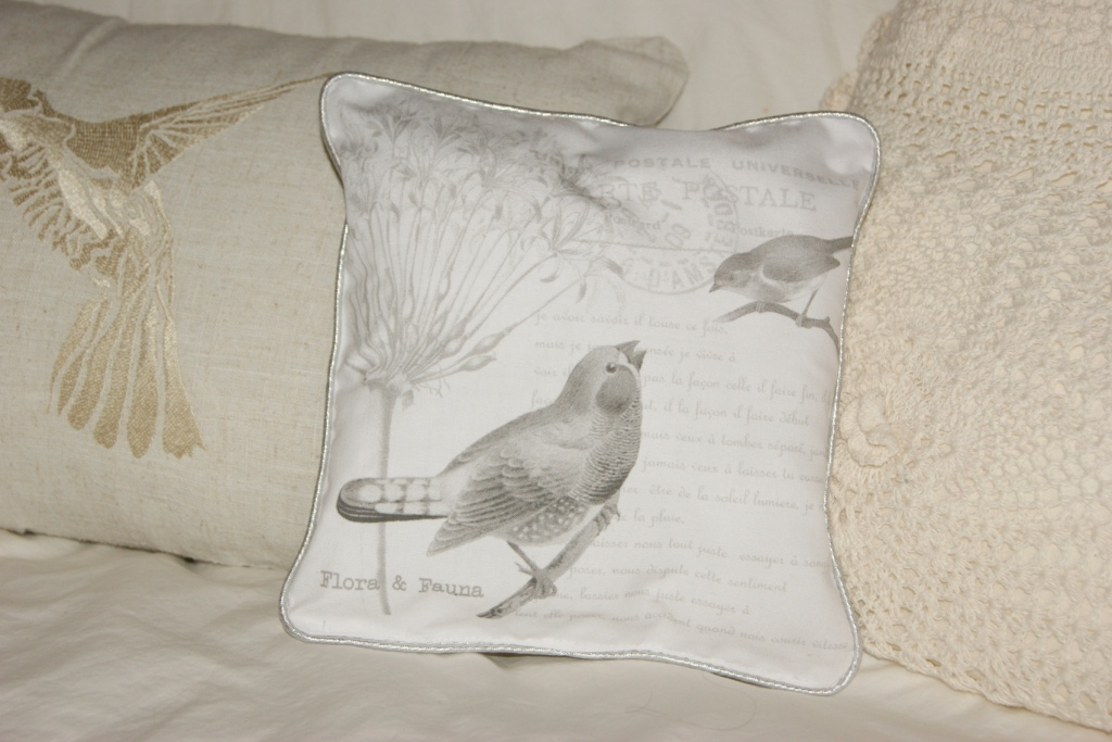 Small cotton french style bird cushions so cute